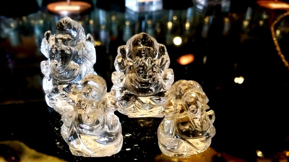 水晶ガネーシャ彫刻