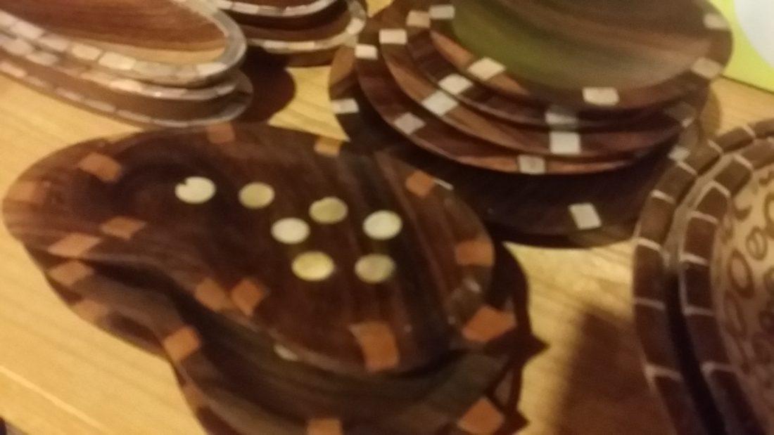 ウッドお皿貝象嵌