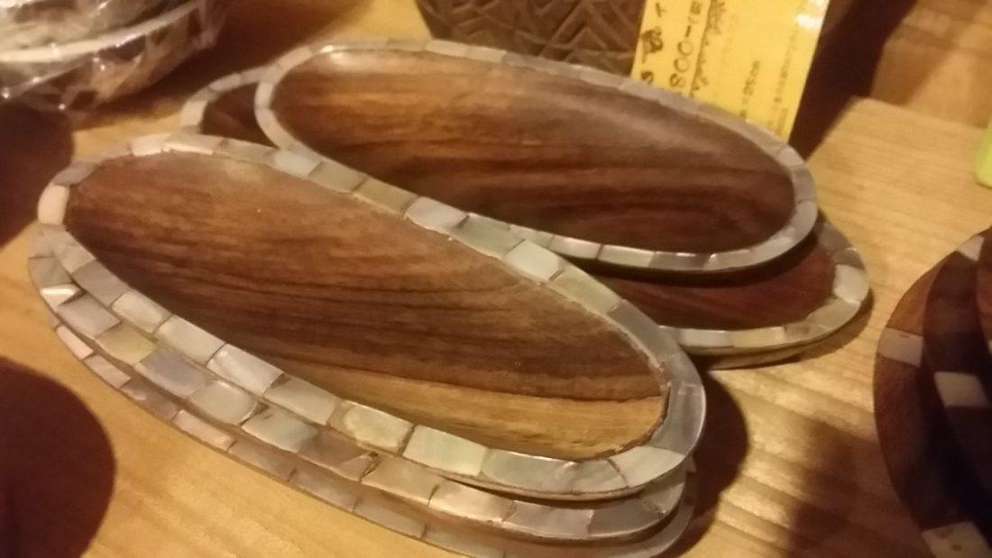 ウッドお皿 貝装飾
