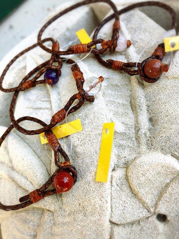 オリジナル本革&天然石ブレス