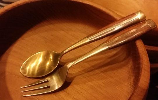 可愛いアンティック風ブラス(真鍮)のスプーン&フォーク