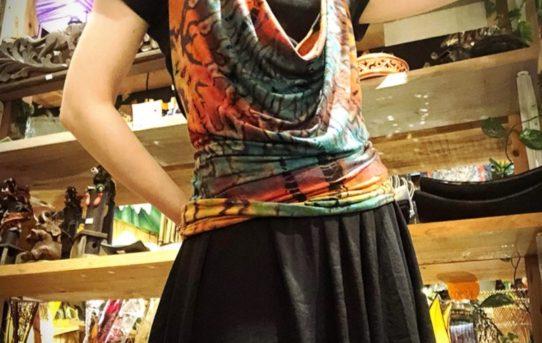 本日のプチエスニックファッションコーデ~レーヨンスパンディックのキャミトップ